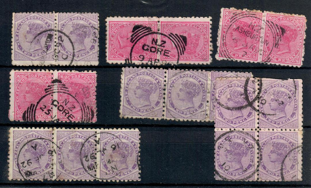 NEW ZEALAND 1882 Victoria 1st Second Sideface. Selection of 1d and 2d in multiples. - 21033 - Used image 0