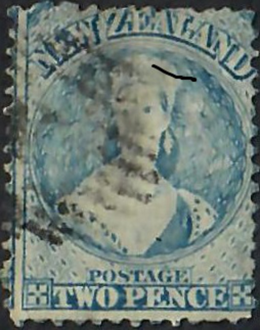 NEW ZEALAND 1862 Full Face Queen 2d Pale Blue. Postmark impinges on face but acceptable. Advanced plate wear. - 60003 - Used image 0