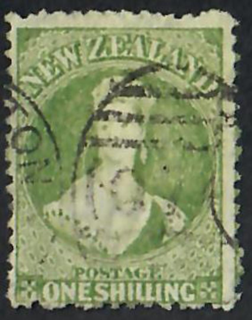 NEW ZEALAND 1862 Full Face Queen 1/- Greeen. Good copy. Light postmark but it does cover the face. - 60079 - FU image 0