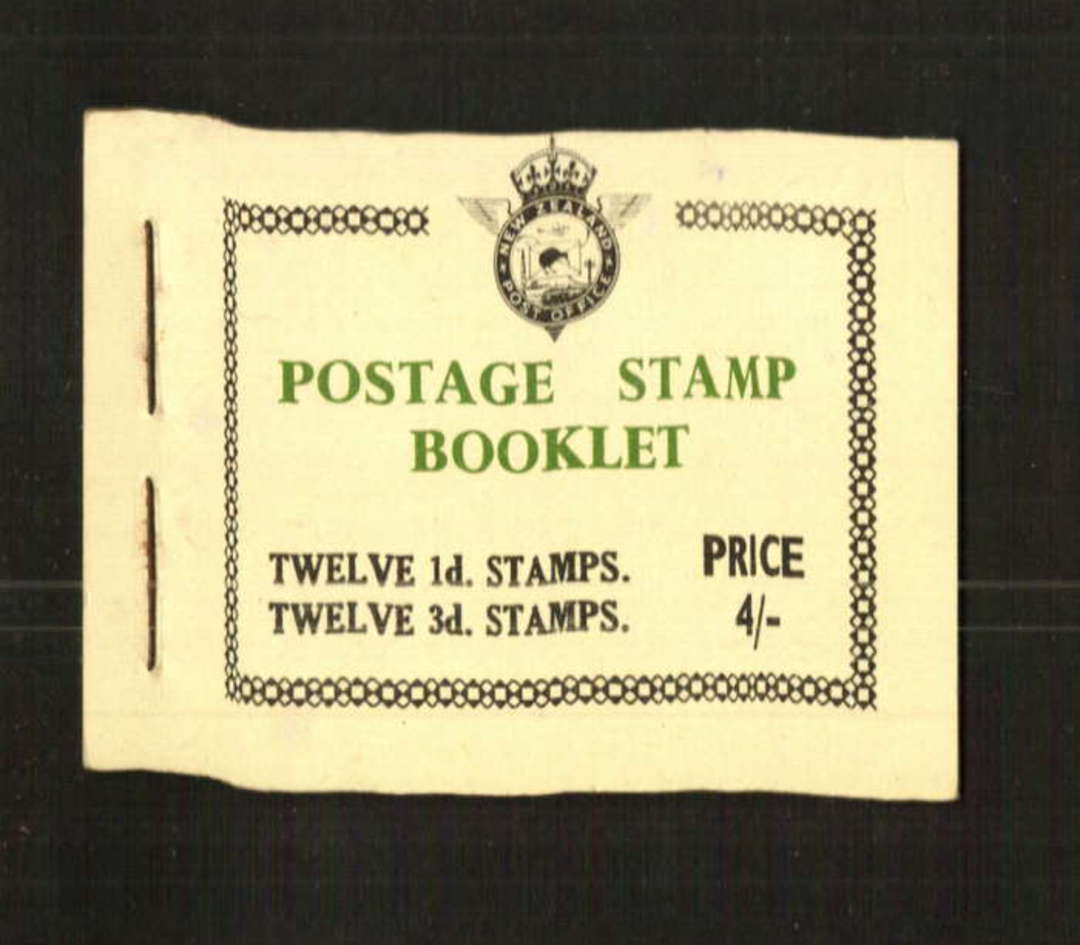 NEW ZEALAND 1954 Elizabeth 2nd  Booklet 4/-. Contains 12 x 1d, and 12 x 3d of the original issue. - 71297 - Booklet image 0