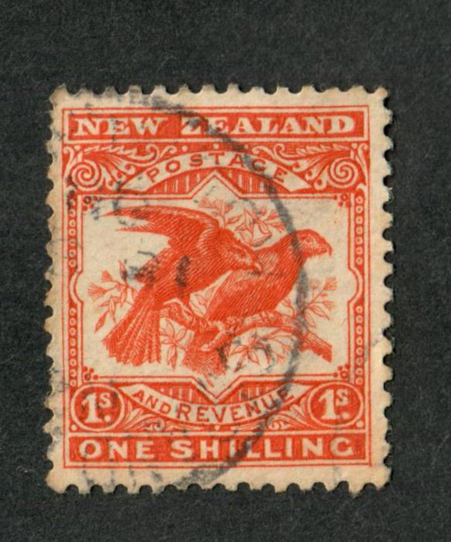 NEW ZEALAND 1898 Pictorial 1/- Redrawn Kaka. - 10073 - Used image 0