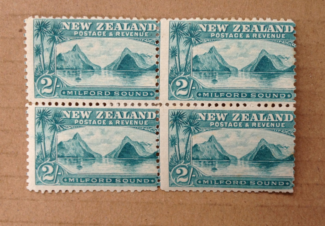 NEW ZEALAND 1898 Pictorial 2/- Milford Sound. First Local Issue on Unwatermarked Paper. Perf 11. Block of 4. - 75015 - Mint image 0
