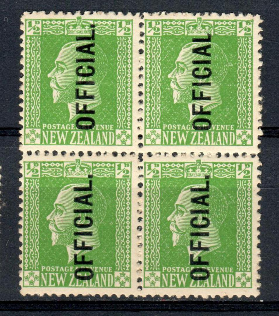 NEW ZEALAND 1915 Geo 5th Official ½d Green in block of 4 with the listed No Stop variety. Only one stamp lightly hinged (not the image 0