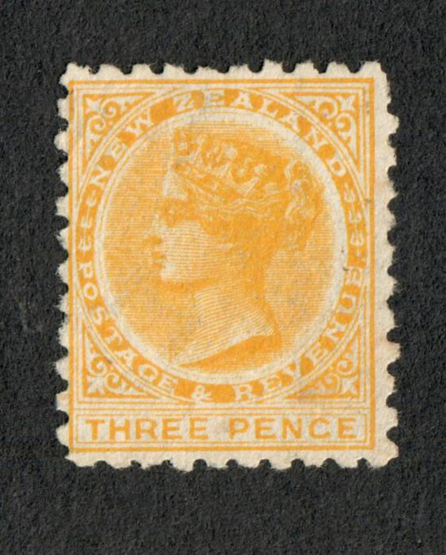 NEW ZEALAND 1882 Victoria 1st Second Sideface 3d Yellow. Excellent copy. - 75213 - MNG image 0