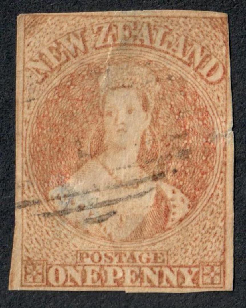 NEW ZEALAND 1855 Full Face Queen 1d Red. Imperf. No Watermark. Richardson print. Cut square. Four margins.Very light postmark. - image 0