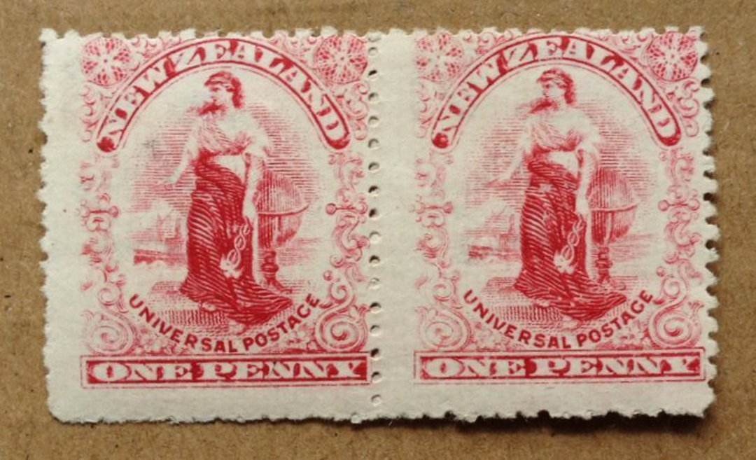 NEW ZEALAND 1d Universal Dot Plate Rose-Carmine. Pair. - 75098 - Mint image 0
