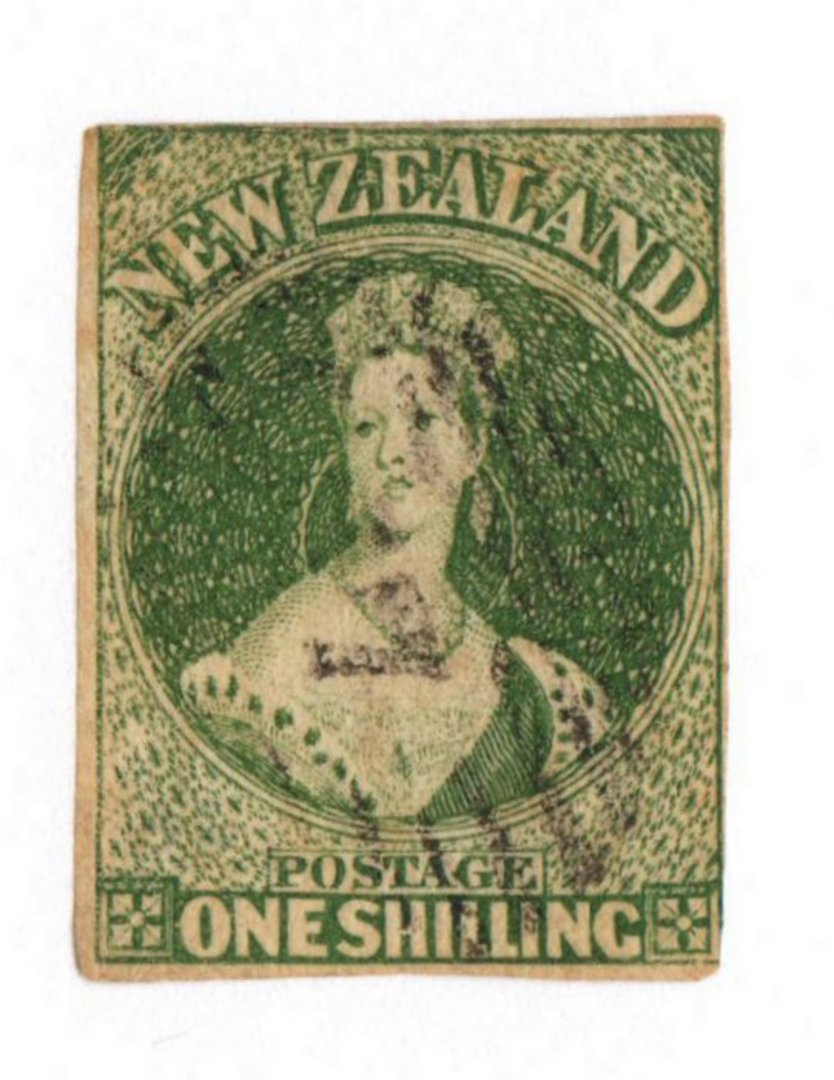NEW ZEALAND 1862 Full Face Queen 1/- Deep Green. Pelure paper. Imperf. Superb copy not quite touching top left. Light cancel. - image 0
