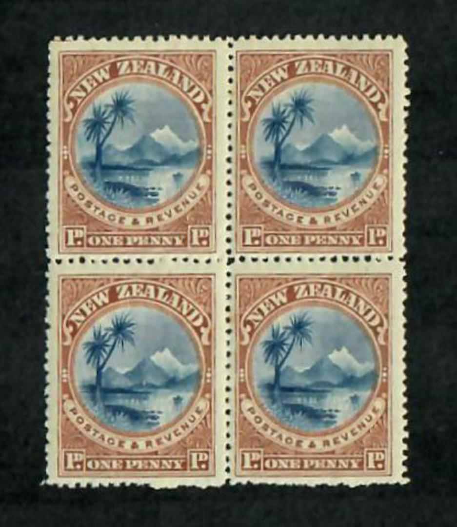 NEW ZEALAND 1898 Pictorial 1d Lake Taupo. London Print. Block of 4. Very fine never hinged. - 75197 - UHM image 0