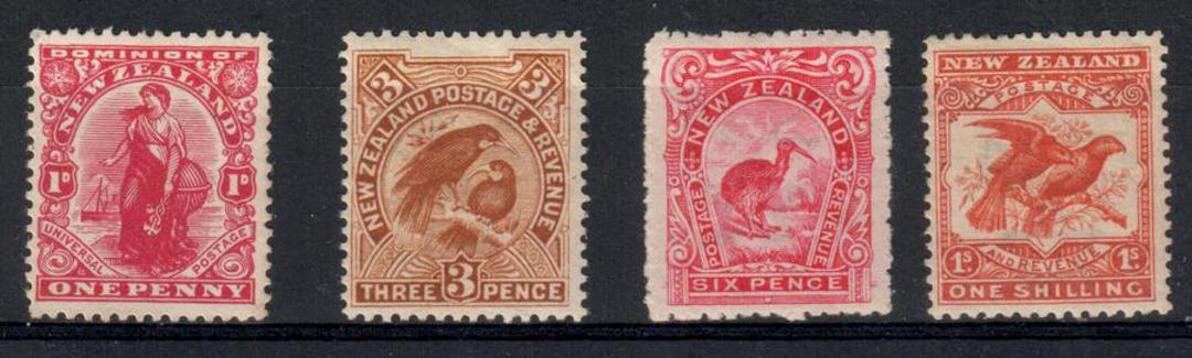 NEW ZEALAND 1907 Pictorials Redrawn. Set of 4. All well centred. - 21885 - LHM image 0
