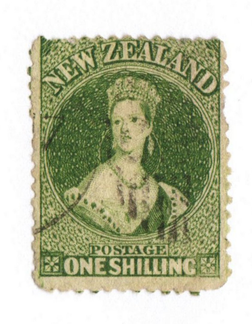 NEW ZEALAND 1862 Full Face Queen 1/- Deep Green. Perf 13 at Dunedin . Light cancel off face, but dull corners detract. - 79150 - image 0