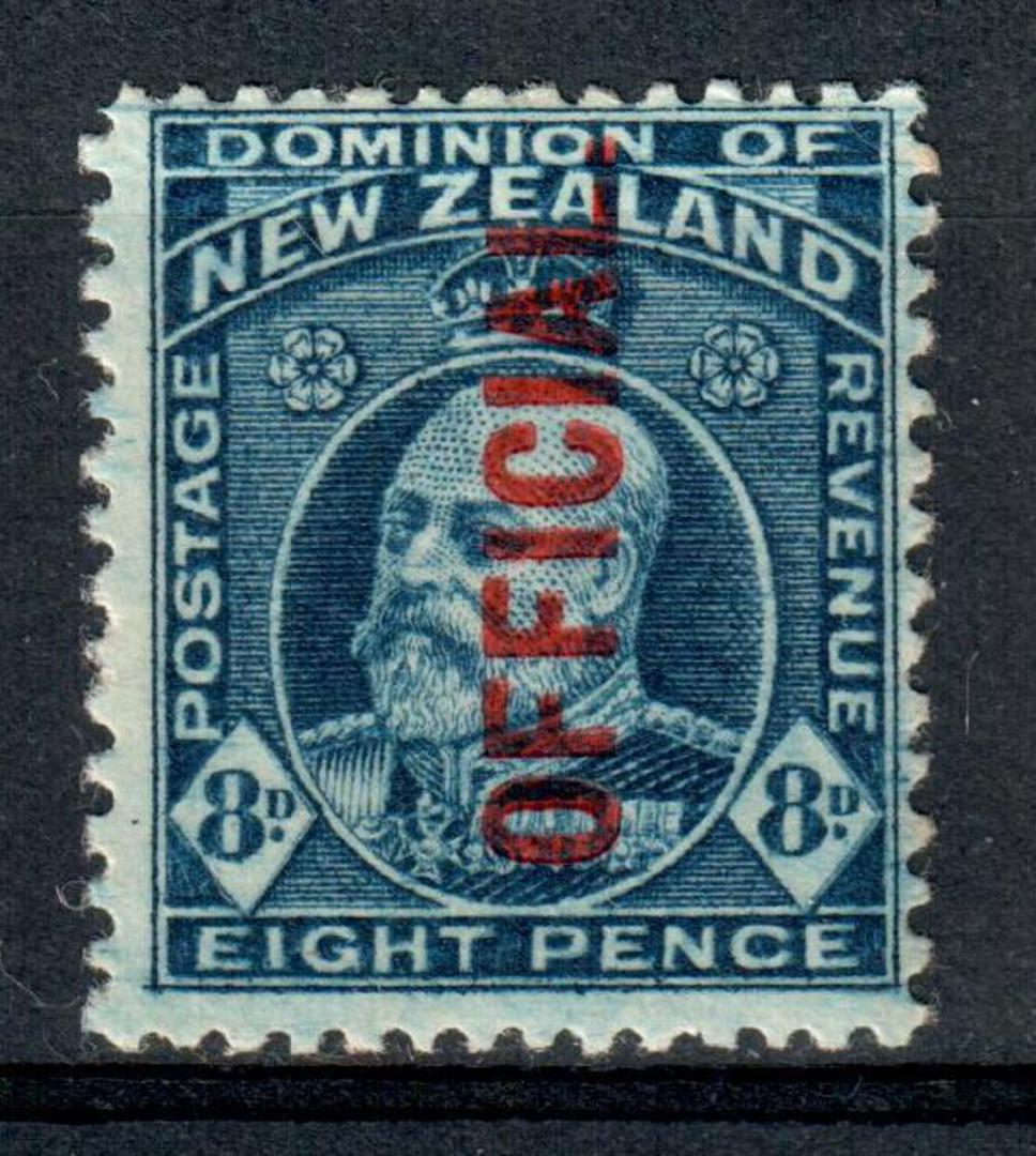 NEW ZEALAND 1909 Edward 7th Official 8d Blue. - 90 - UHM image 0