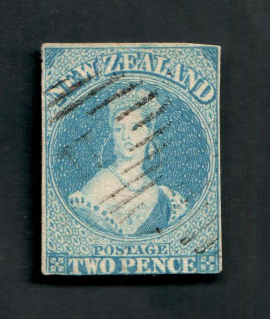 NEW ZEALAND 1855 Full Face Queen 2d Pale Blue. White paper. No watermark. Three good margins, cut slightly into the bottom frame image 0