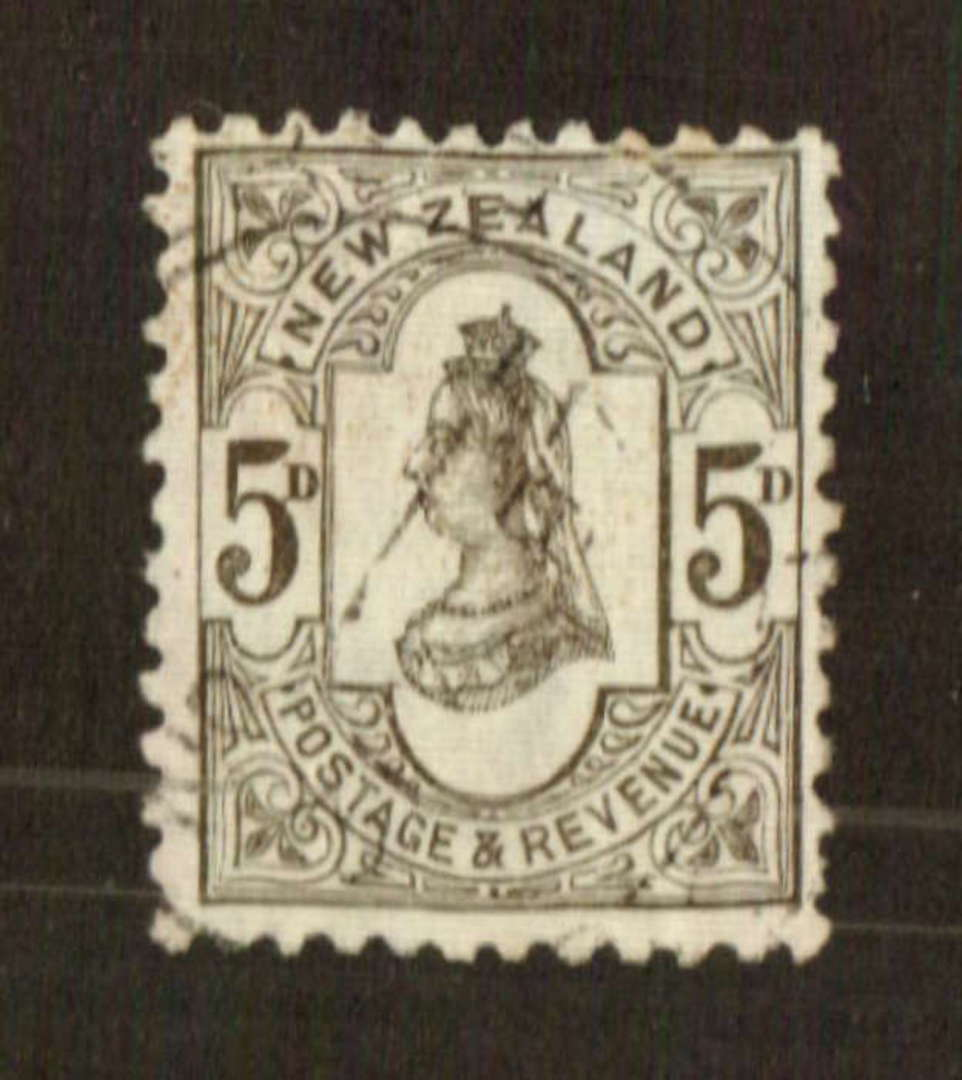 NEW ZEALAND 1882 Victoria 1st Second Sideface 5d Olive-Black. Perf 12x11½. Very fine copy. - 71284 - VFU image 0