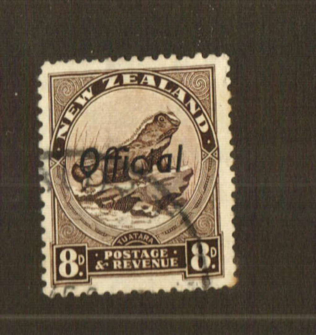 NEW ZEALAND 1935 Pictorial Official 8d Tuatara. Perf 12½. - 74778 - FU image 0
