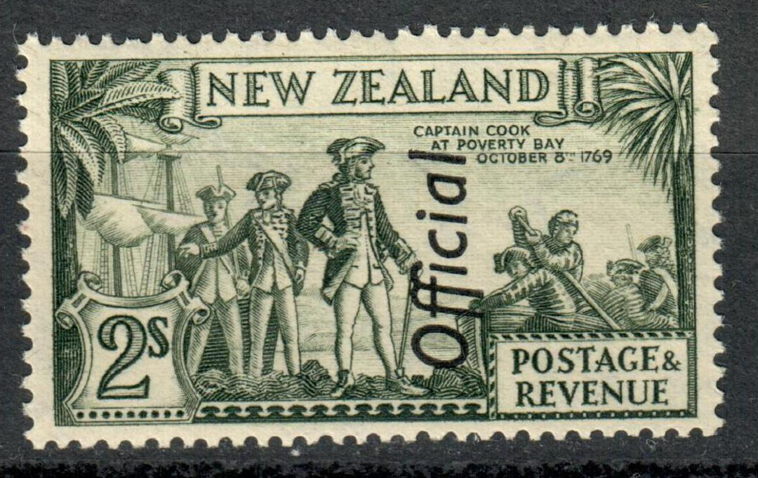NEW ZEALAND 1935 Pictorial Official 2/- Olive-Green. - 184 - UHM image 0