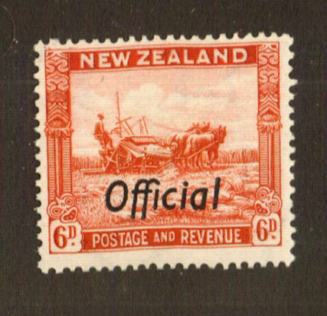 NEW ZEALAND 1935 Pictorial Official 6d Scarlet. Perf 14½x14. - 74724 - UHM image 0