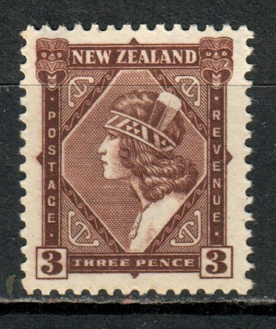 NEW ZEALAND 1935 Pictorial 3d Deep Chocolate. Multiple watermark. Perf 14x13½. - 4171 - UHM image 0