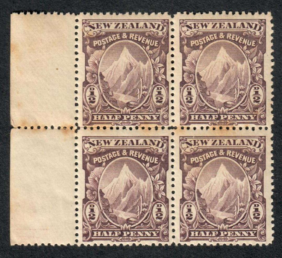 NEW ZEALAND 1898 Pictorial ½d Purple. Block of 4 in mint never hinged but toning. - 79453 - UHM image 0