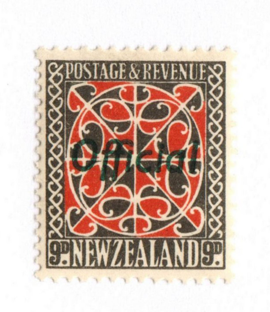 NEW ZEALAND 1935 Pictorial Official 9d Red and Grey with Green Overprint. Very lightly hinged. - 74047 - LHM image 0
