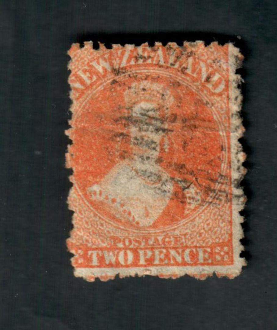 NEW ZEALAND 1862 Full Face Queen 2d Orange. Perf 12½. Watermark Large Star. No faults but the postmark covers the face. - 39069 image 0