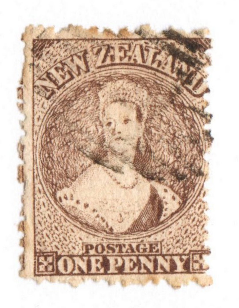 NEW ZEALAND 1862 Full Face Queen 1d Brown. Perf 12½.. Light cancel. image 0