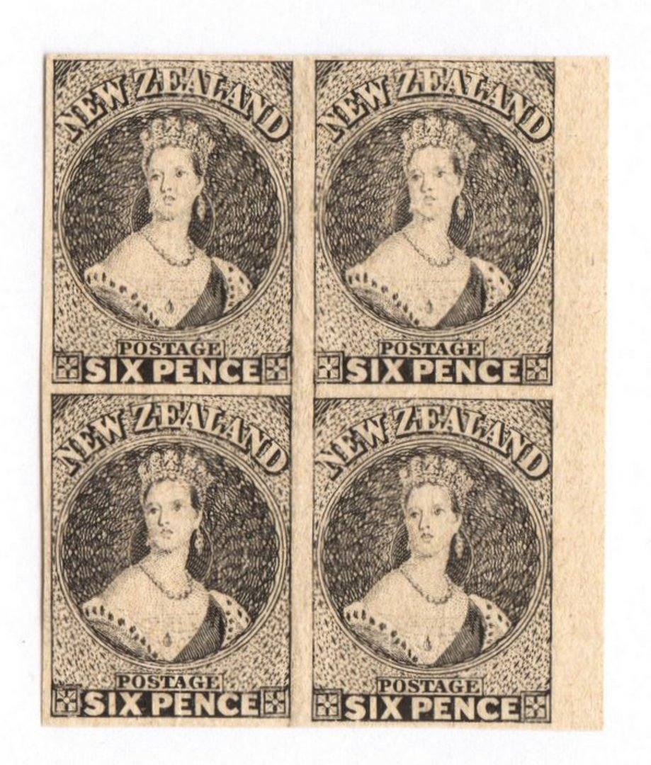 NEW ZEALAND 1855 Full Face Queen Hausberg Proofs in blocks of four. Eight blocks. - 37907 - image 0