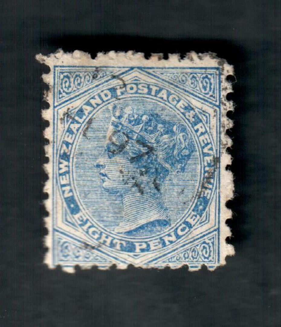 NEW ZEALAND 1882 Victoria 1st Second Sideface 8d Blue. Perf 10. 3rd setting in Brown-Purple. Bonningtons Irish Moss. - 4005 - FU image 0