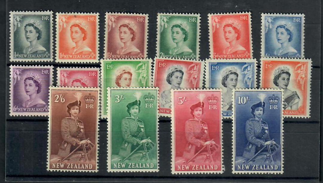 NEW ZEALAND 1953 Elizabeth 2nd Definitives. Set of 16. - 20615 - UHM image 0