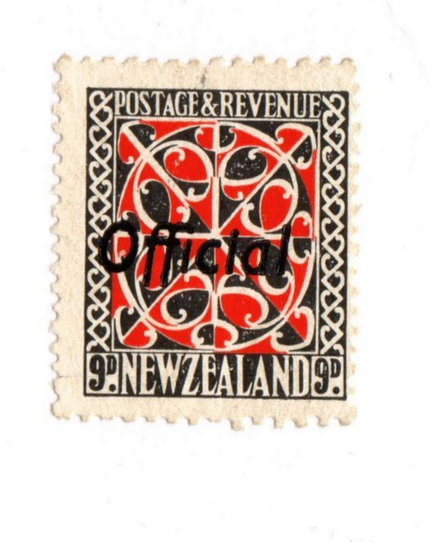 NEW ZEALAND 1935 Pictorial Official 9d Red and Black with Black Overprint. - 74048 - UHM image 0