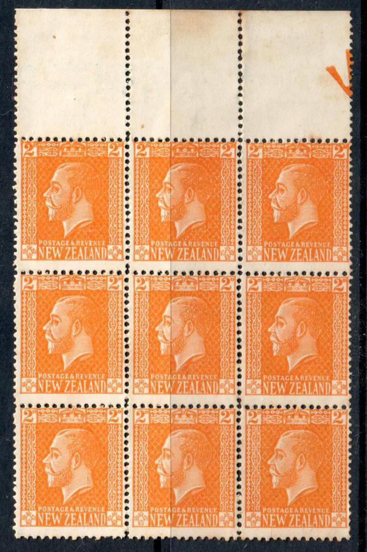 NEW ZEALAND 1915 Geo 5th 2d Orange-Yellow. Cowan chalky paper. Perf 14x15. Block of 9. - 53928 - UHM image 0