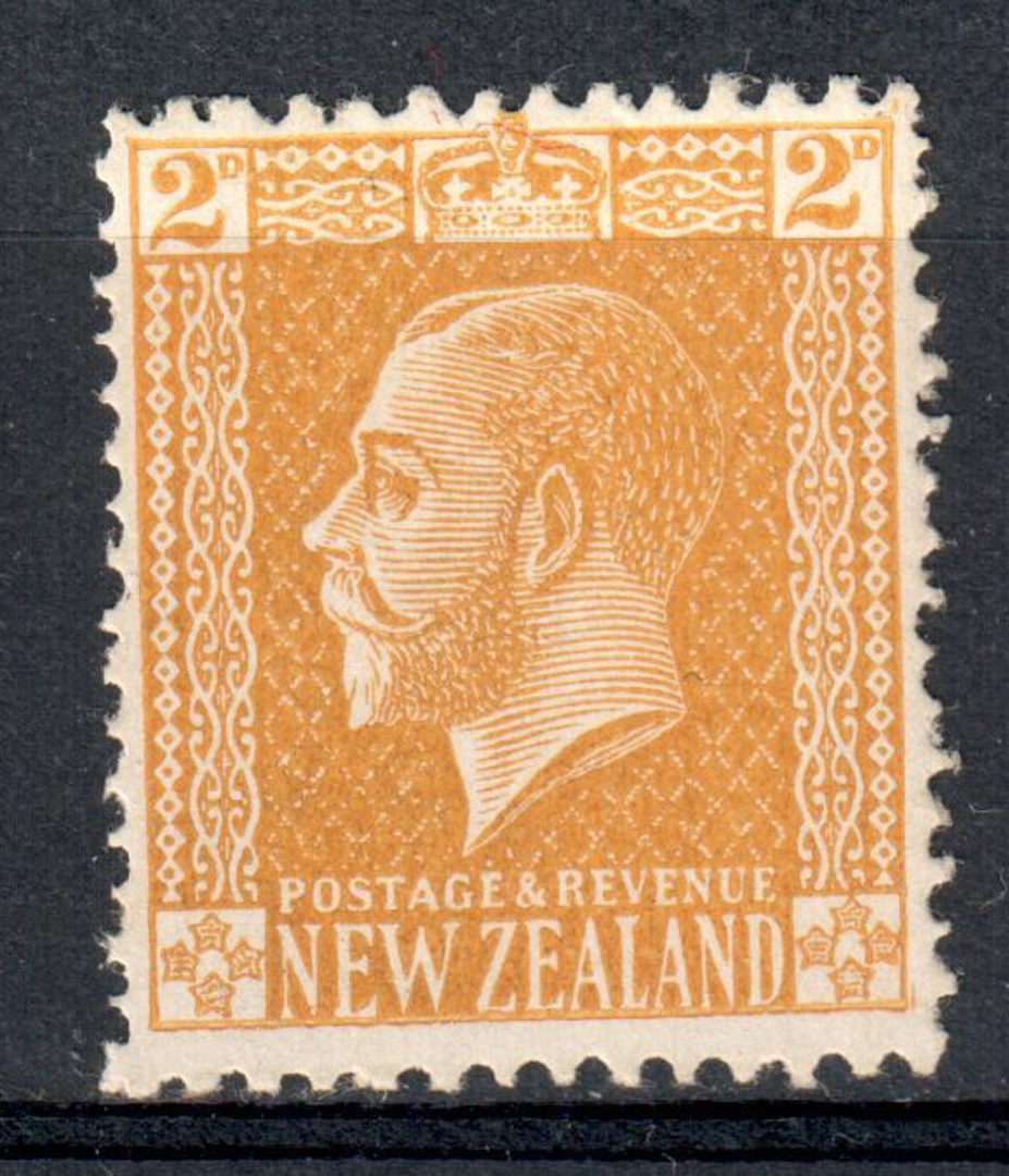 NEW ZEALAND 1915 Geo 5th 2d Ochre-Yellow. Surface print. Perf 14x15. Unlisted. Post Office fresh. It has not been tampered with. image 0