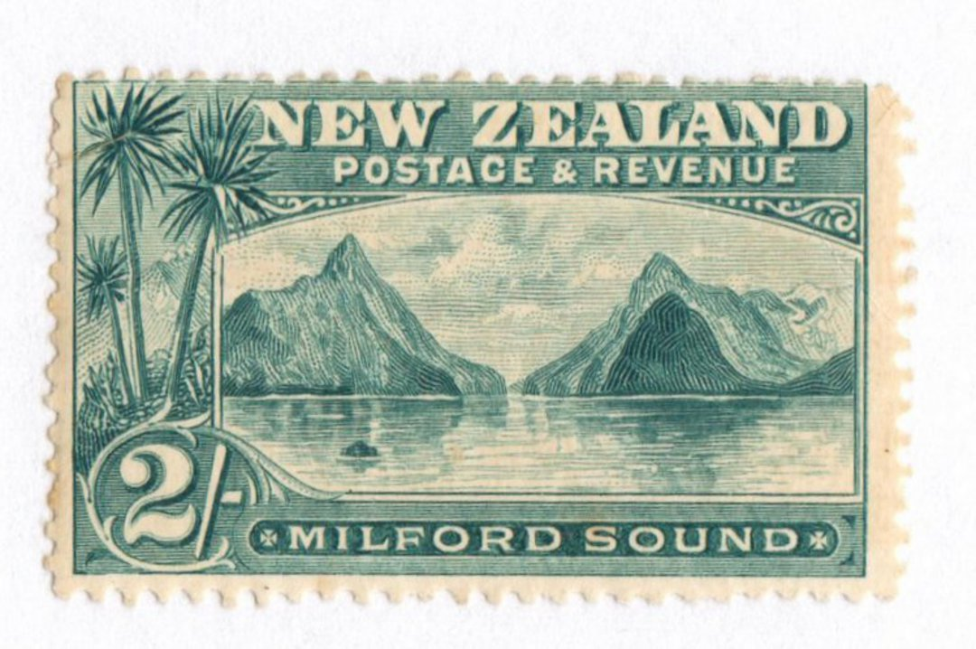 NEW ZEALAND 1898 Pictorial 2/- Grey-Green. London Print. Hinge evidence barely visible. Slight gum crease. - 74865 - LHM image 0