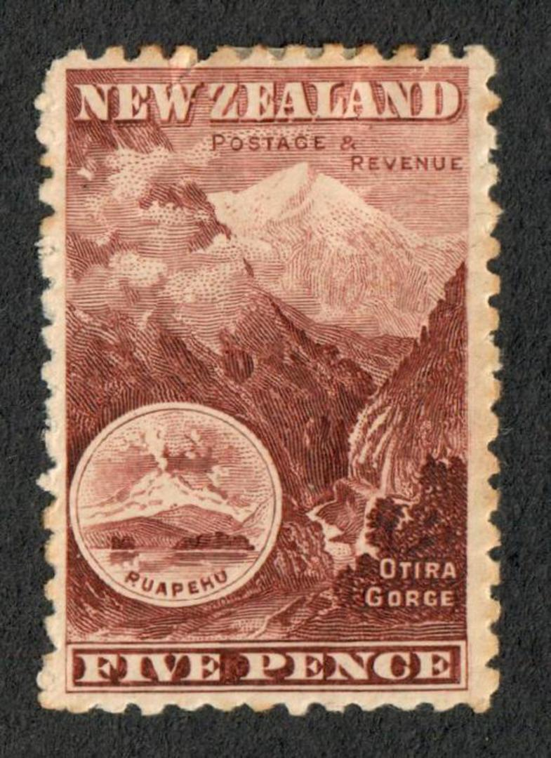 NEW ZEALAND 1898 Pictorial 5d Otira Gorge Red-Brown. First Local Issue on Unwatermarked Paper. Perf 11. CP E13b(2). - 74869 - Mi image 0
