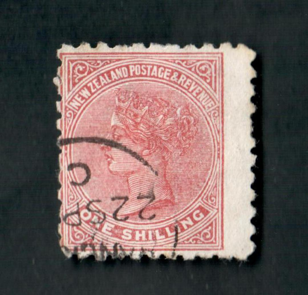 NEW ZEALAND 1882 Victoria 1st Second Sideface 1/- Red-Brown. Perf 10. 3rd setting in Red to Brown-Red. Poneke Beef Extract. Wing image 0