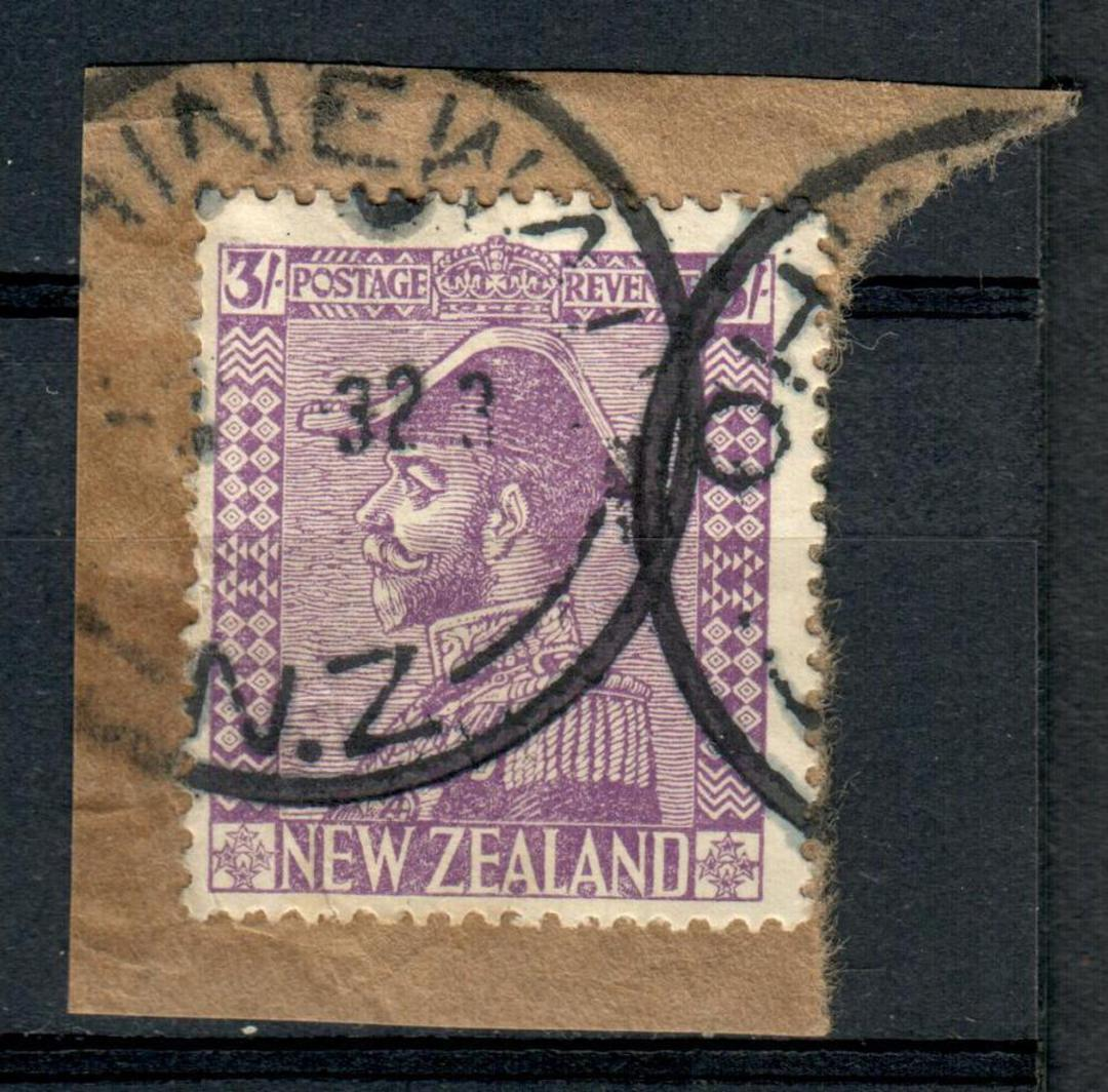 NEW ZEALAND 1926 Geo 5th Admiral 3/- Purple. Cut out from parcel with OHINEWAI J Class cancel of 1932. Cancel a little heavy. - image 0