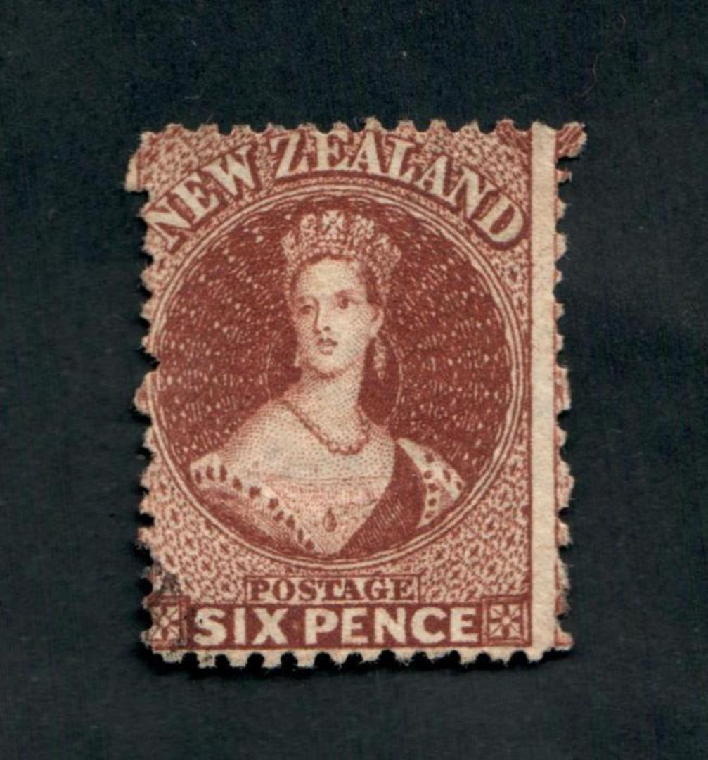 NEW ZEALAND 1862 Full Face Queen 6d Red-Brown. Perf 12½. Excellent copy. - 3535 - FU image 0