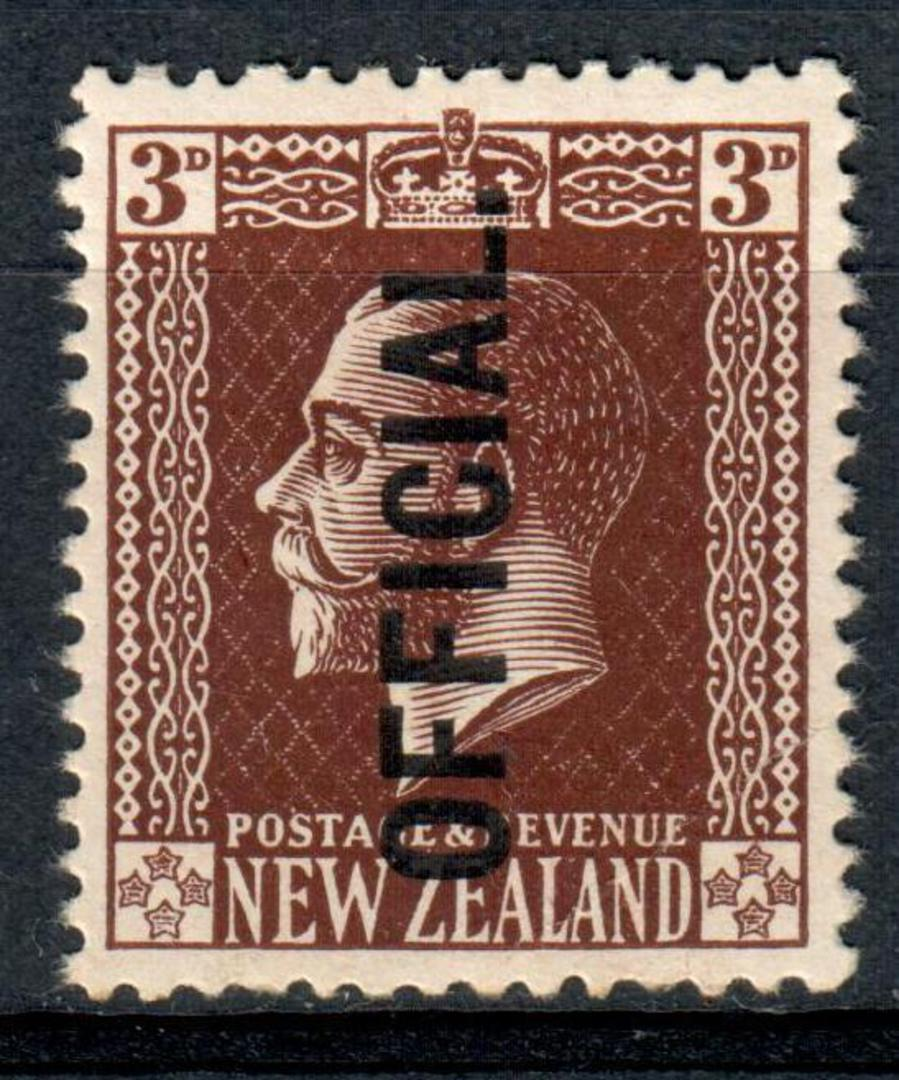 NEW ZEALAND 1915 Geo 5th Official 3d Brown Surface. - 126 - UHM image 0