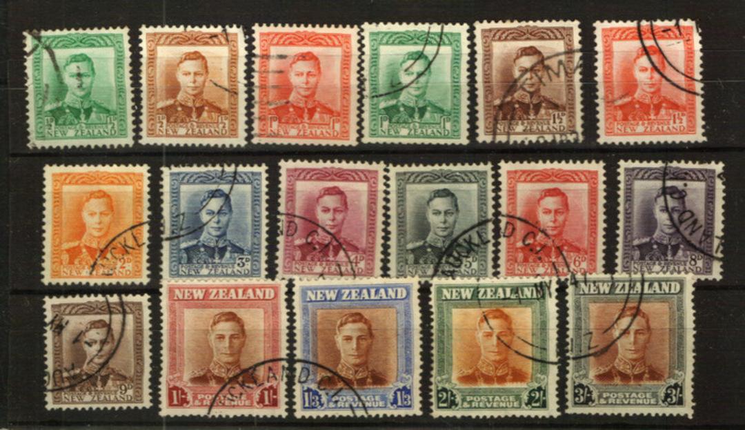 NEW ZEALAND 1938 Geo 6th Definitives. Set of 17. - 24042 - VFU image 0