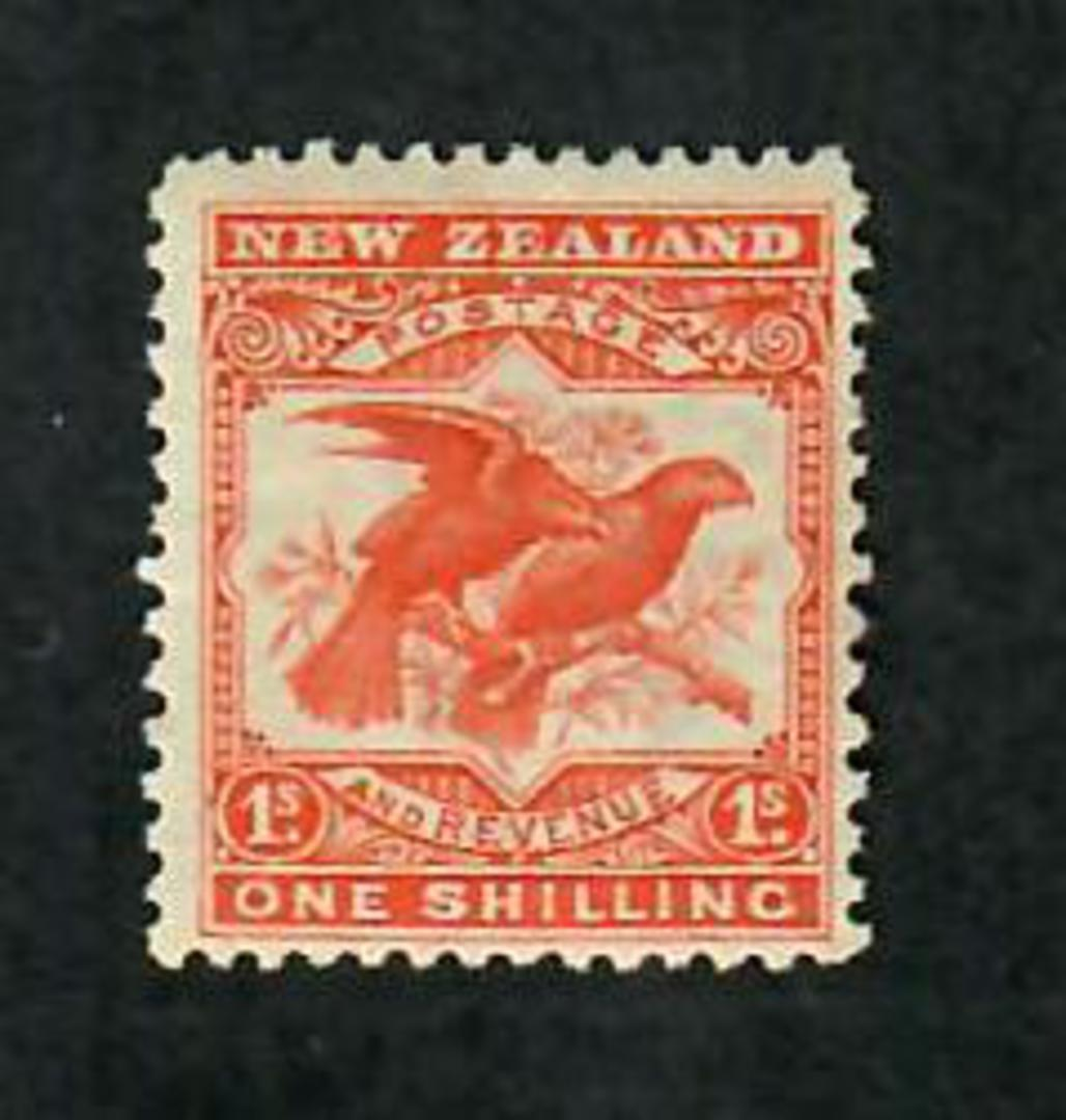 NEW ZEALAND 1898 Pictorial 1/- Redrawn Kaka Orange-Red. Ultra LHM. Centred slightly south east. Perf 14 x 13. - 70695 - LHM image 0