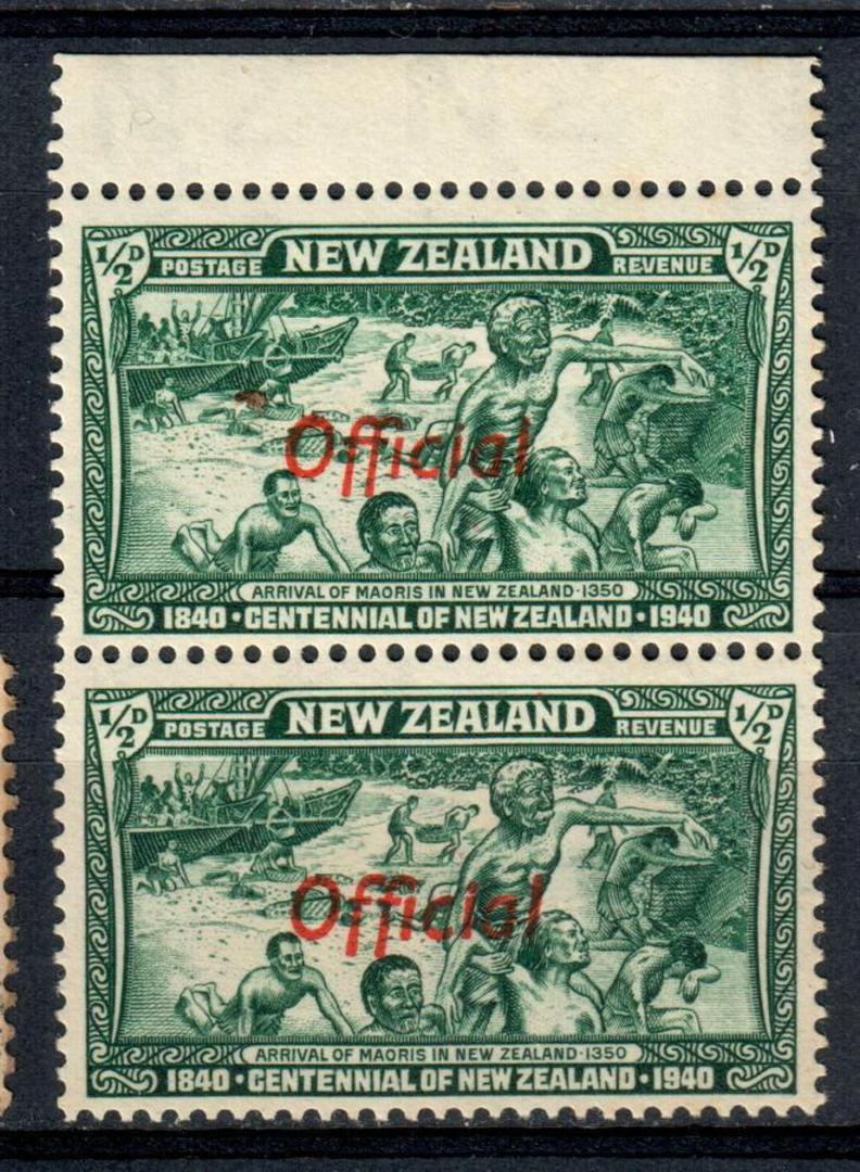 NEW ZEALAND 1940 Centennial Official ½d Green. Joined FF in pair with normal. Post Office fresh and clean. - 75033 - UHM image 0