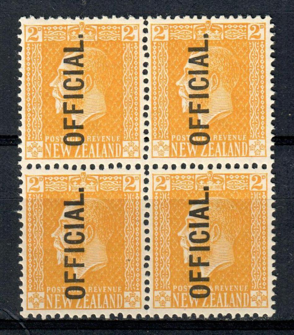 NEW ZEALAND 1915 Geo 5th Official  2d Yellow. Surface print. Block of 4. - 79210 - UHM image 0