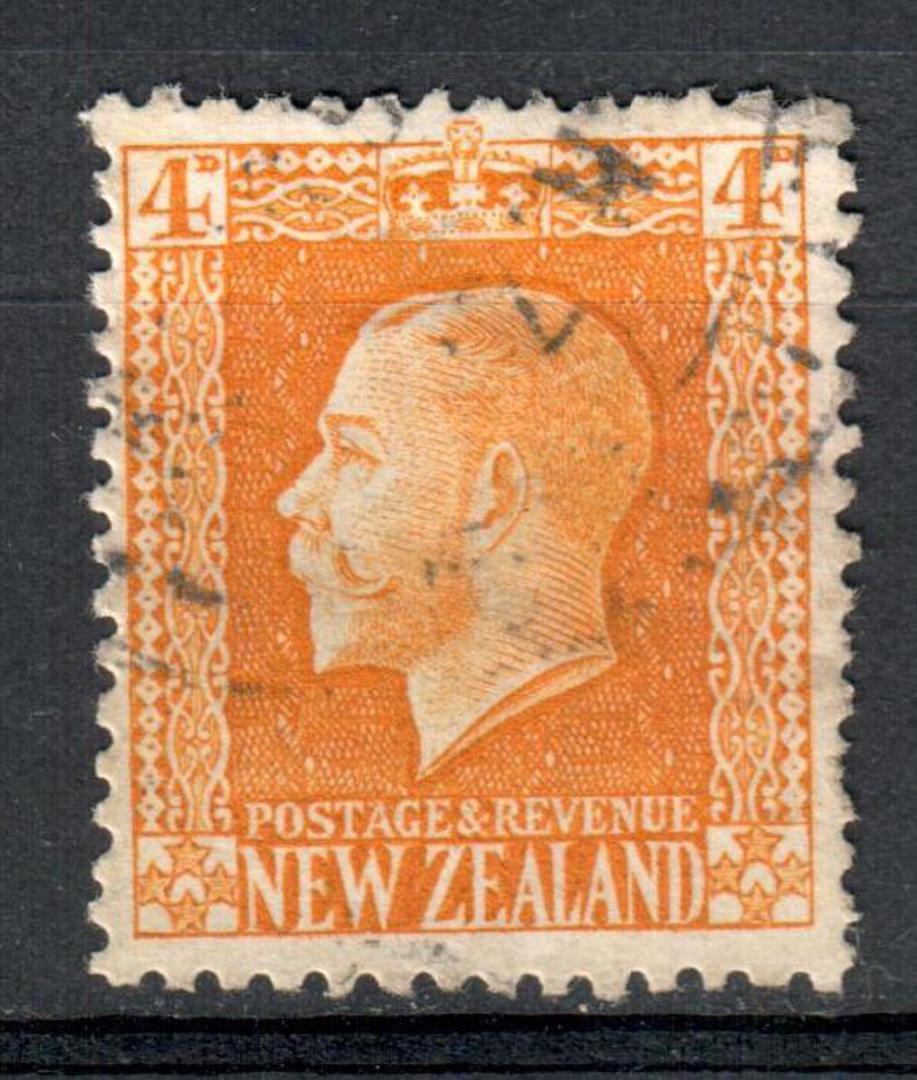 NEW ZEALAND 1915 Geo 5th Definitive 4d Yellow Recess Print. - 10101 - FU image 0