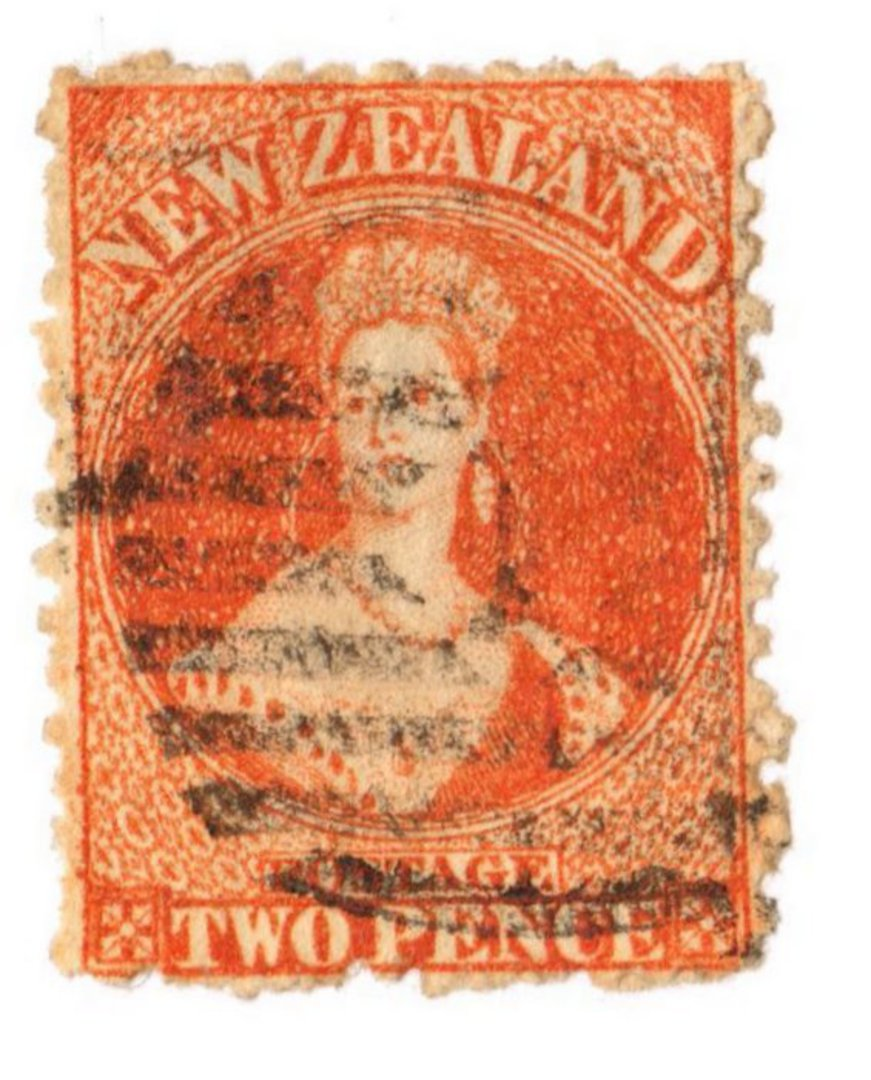 NEW ZEALAND 1862 Full Face Queen 2d Orange. Perf 12½. Postmark over face. - 3563 - Used image 0