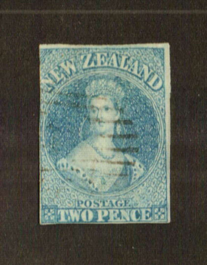 NEW ZEALAND 1855 Full Face Queen 2d Pale Blue. White paper. No watermark. Imperf. Three margins the fourth cut into. Light postm image 0