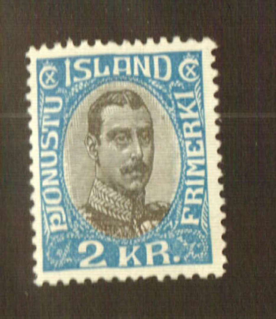 ICELAND 1920 Christian 10th Official 2k Grey-Black and Blue. - 73534 - Mint image 0