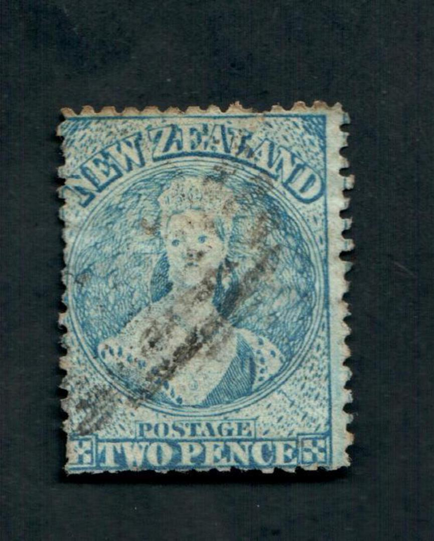 NEW ZEALAND 1862 Full Face Queen 2d Blue. Perf 13. Watermark NZ. Advanced plate wear. Postmark just touching the face. Light. Pe image 0