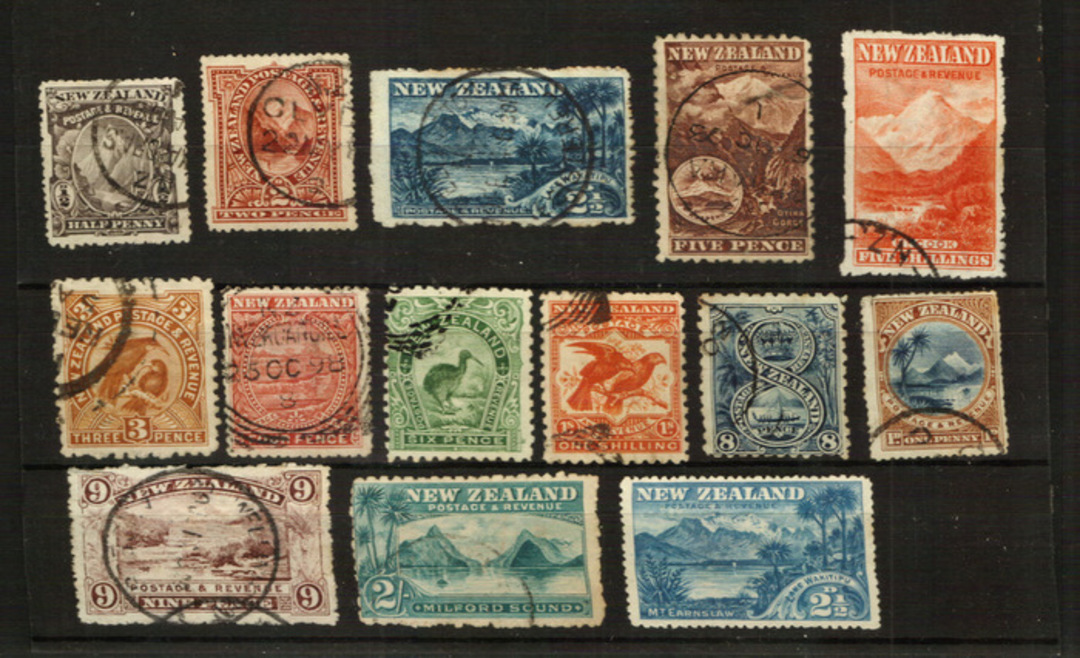 NEW ZEALAND .1898 Pictorials. Original set of 14. Nice copies especially the key values. The 5/- is perfect and would retail at image 0