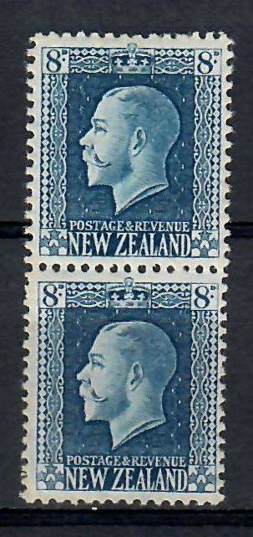NEW ZEALAND 1915 Geo 5th Definitive 8d Indigo-Blue. Recess print. Two perf pair. - 74174 - UHM image 0