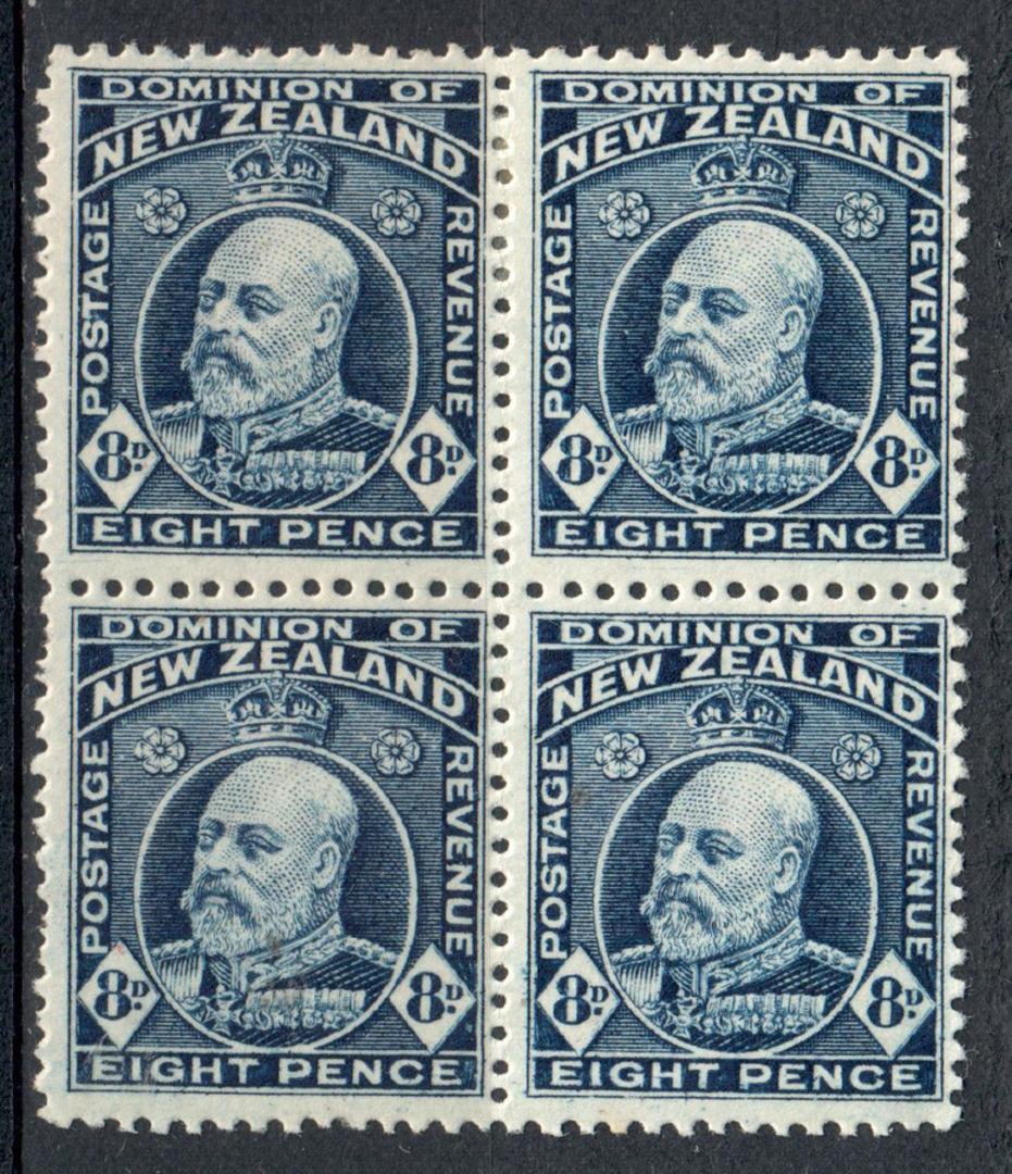 NEW ZEALAND 1909 Edward 7th 8d Indigo-Blue. Perf 14x13½. Block of 4. 2 UHM 2 Mint. - 79581 - UHM image 0