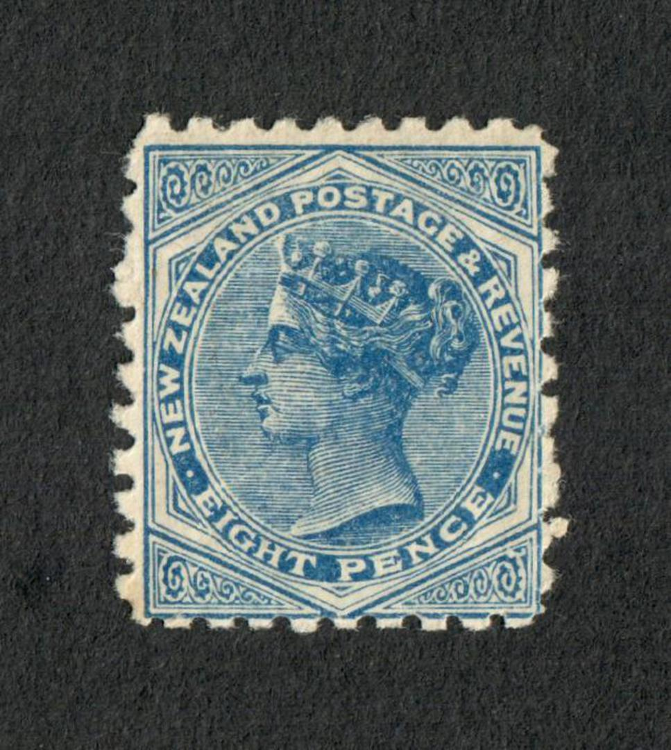 NEW ZEALAND 1882 Victoria 1st Second Sideface 8d Blue with advert 3rd setting in Purple. Be Sure you ask for Poneke Potted Meats image 0
